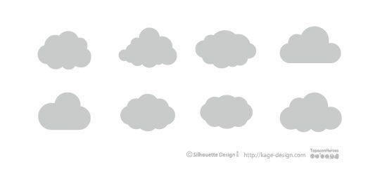 クラウドコンピューティングで使えそうな雲アイコン