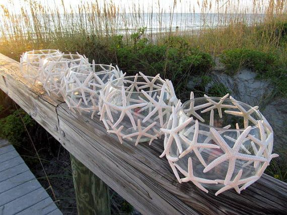 Beach Wedding Starfish Candle Centerpieces, set of 5. by Etsy seller PinkPelicanDesigns