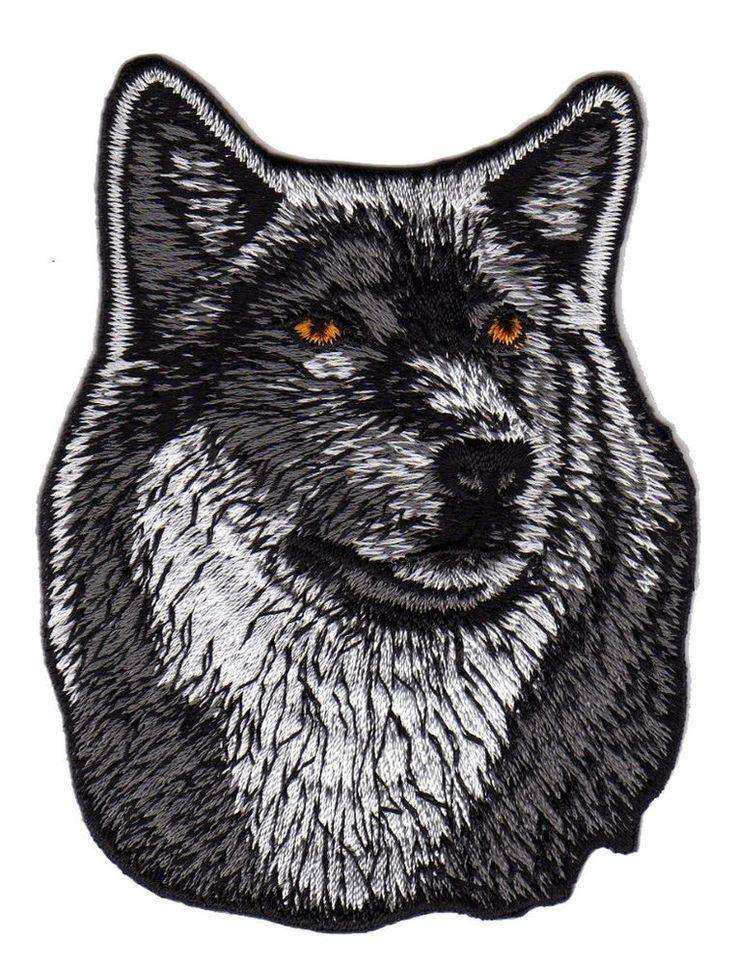 au55 Wolf Hund Kopf Tier Dog Aufnäher Bügelbild Patch Applikation Bügelsticker