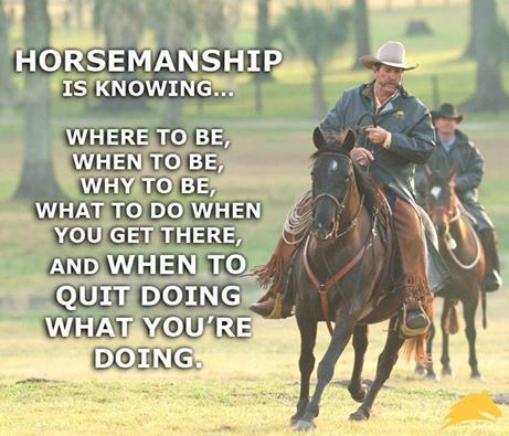"""#Horsemanship is knowing where to be, when to be, why to be, what to do when you get there and WHEN TO QUIT doing what you're doing."" - Pat #Parelli  Check out Geneviève Benoit, Licensed Parelli 3-Star Instructor at www.vifargent.com"