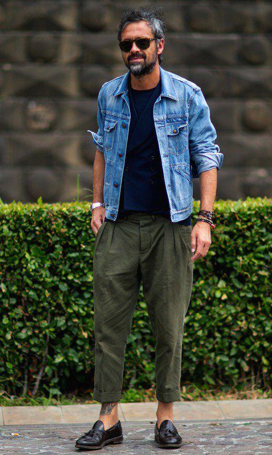 デニムジャケット,ベスト,プリーツパンツメンズファッション着こなしコーデ