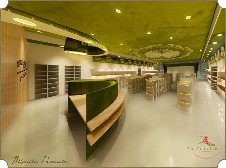 cashier desk, sap green, birch and white (firstferry)