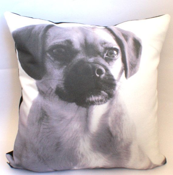 miss billy herself in black and white - digital image of young pugalier, edited into black and white image and printed onto luxurious belgian linen cotton cushion cover.
