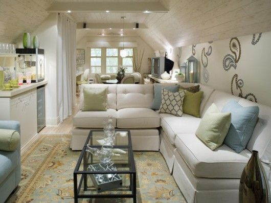 Attic space by Candice Olson (small apartment idea) with hunter green and lavender instead if their blue and green