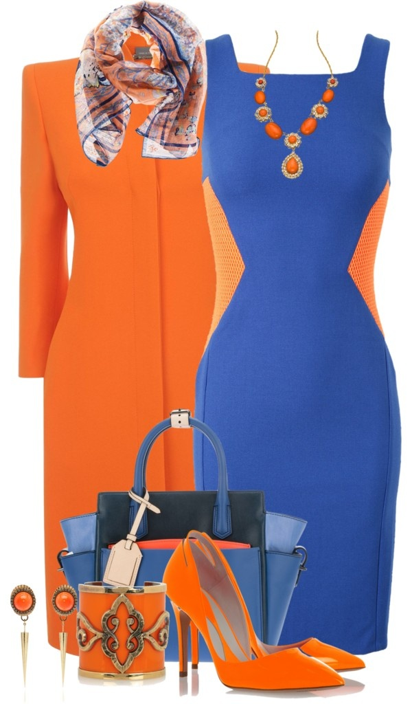 """Bold Blue and Orange"" by brendariley-1 ❤ liked on Polyvore"