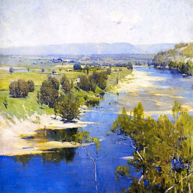 "Arthur Streeton - ""The Purple Noon's Transparent Might"" - one of his most famous paintings, and a favourite of mine. Streeton was a member of the Heidelberg School of Australian impressionist who specialised in plein air art. They were based in Melbourne, Victoria."