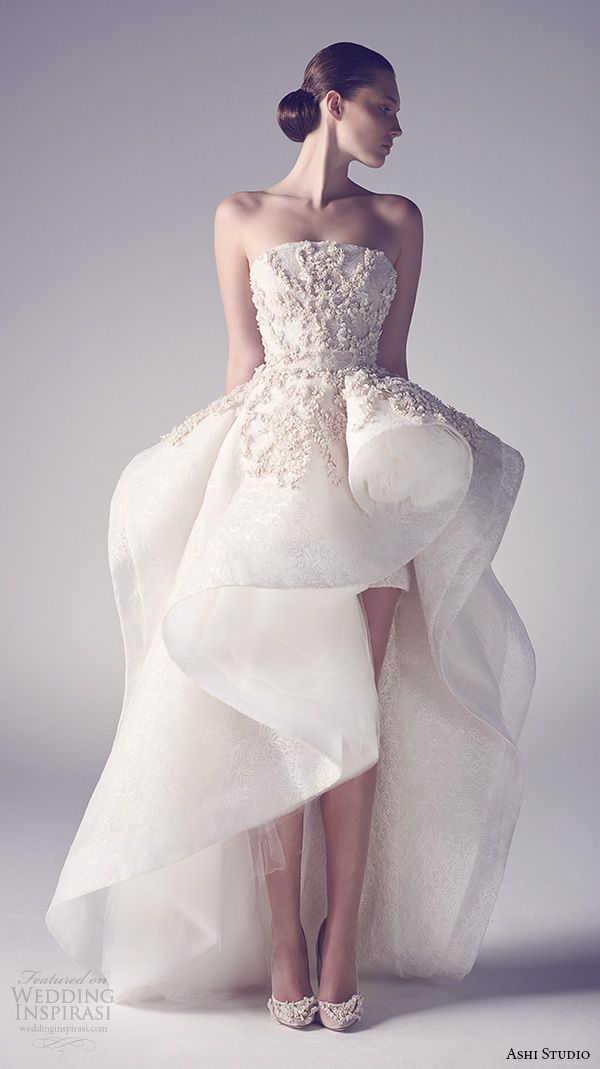 ashi studio couture 2015 strapless straight across neckline embroidered bodice flounce high low wedding dress
