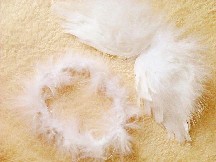 Asinha de anjo com auréola , confeccionada em feltro com plumas costuradas. Um lindo acessórios para suas fotos newborn. Medida da asa aproximadamente 11X22cm e auréola de 9 a 10 cm. Antes de comprar, leia as politicas da loja.