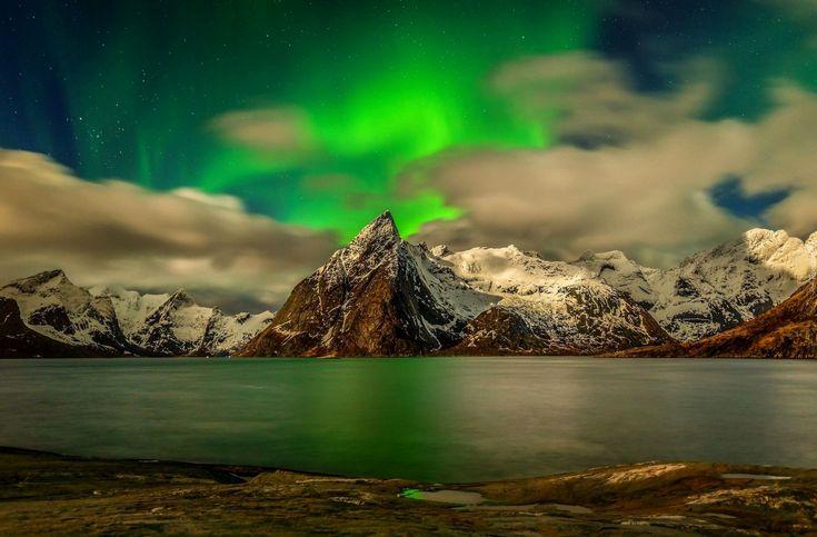 Edycja Tapety: Góry, Jezioro, Zorza, Polarna
