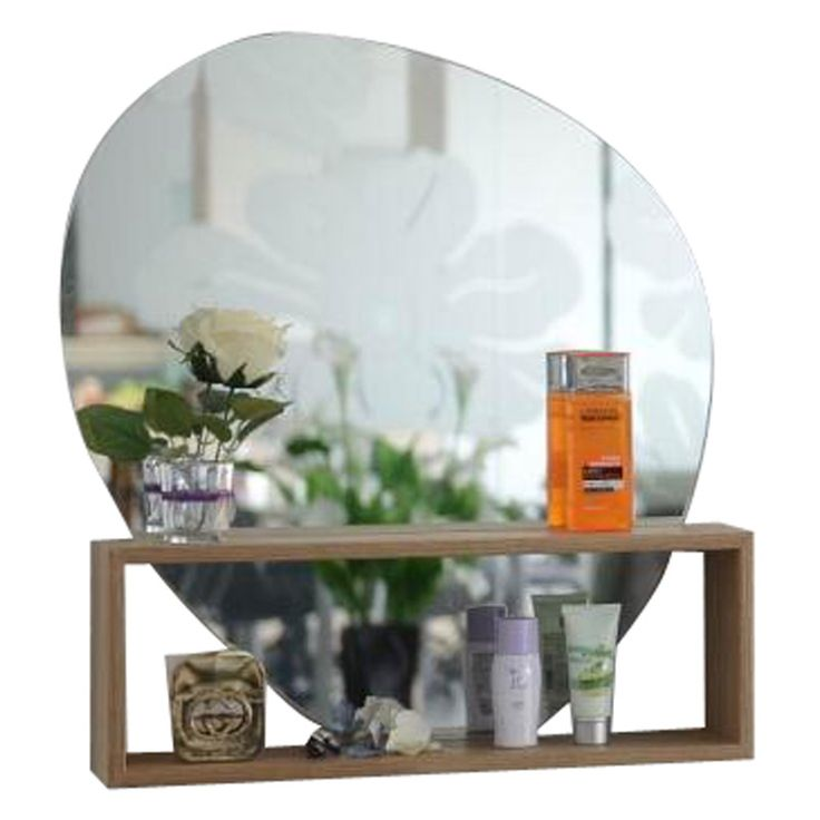 Stone Shaped Wall Mirror & Shelf | Natural | 60cm by Wake Up Your Walls on POP.COM.AU
