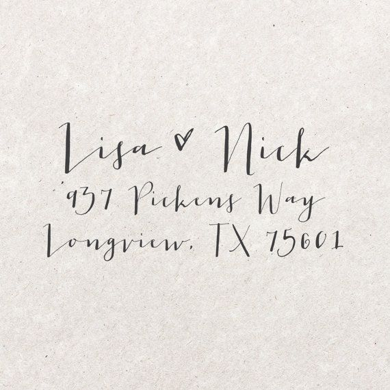 Custom Calligraphy Address Stamp Hand Lettered By