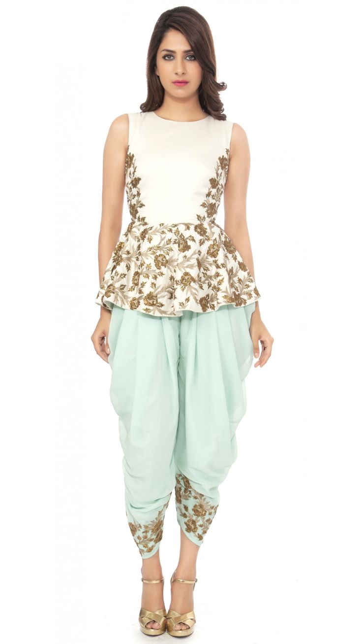SVA BY SONAM & PARAS MODI WHITE PEPLUM TOP WITH MINT PATIALA PANTS