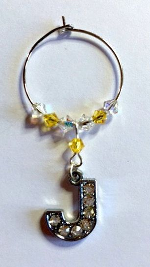 Letter 'J' Wine Glass Charm - with Swarovski Crystals - birthstone gift idea by Makewithlovecrafts on Etsy