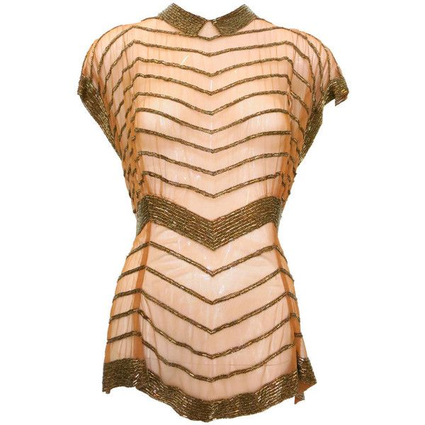 Pre-owned 1930s Copper Mesh Beaded Top with Stylized Collar and... ($410) ❤ liked on Polyvore featuring tops, blouses and tops, shirts, mesh top, red chevron shirt, victorian shirt, chevron shirt and sheer top