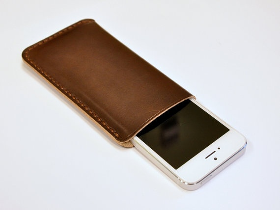 Handmade iPhone 5 Leather Case iPhone Sleeve, Brown Tanned.