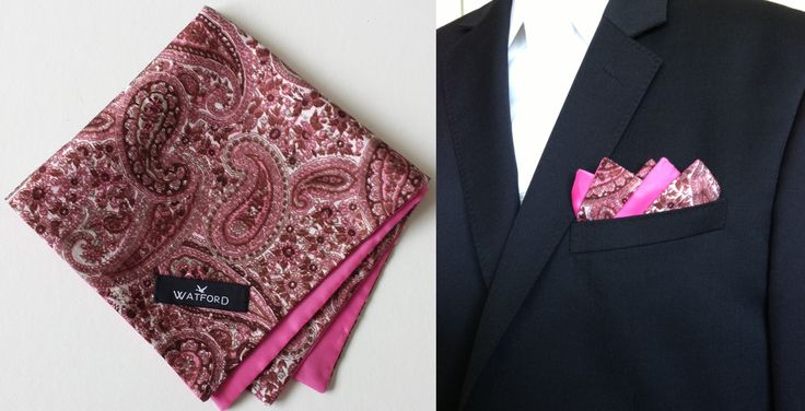 Raw Silk print with pink polyester lining - Pocket Square (Double-sided)