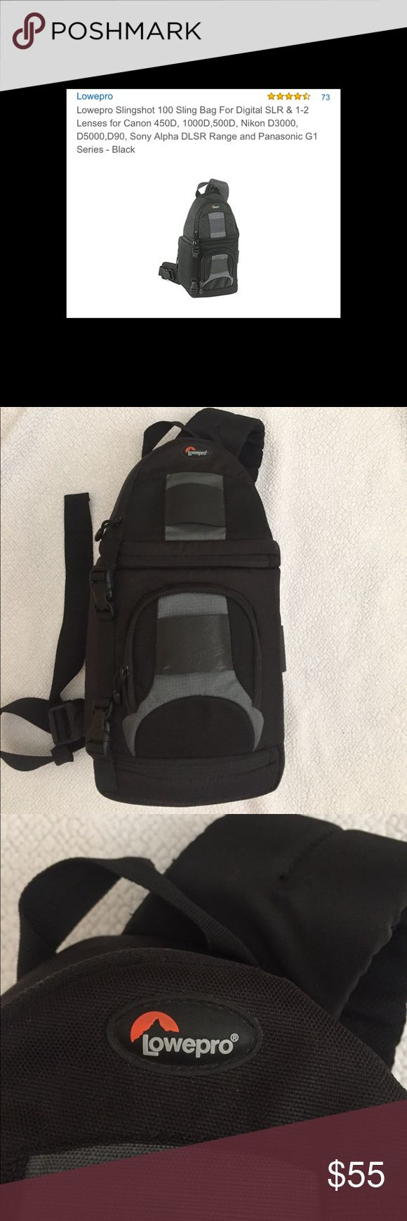 Lowepro camera bag Balck and grey Lowepro sling camera bag. Used but in great condition. Minor scuffing shown in pic 8. Sling band goes across chest. Great as a starter camera bag! Lowepro Accessories