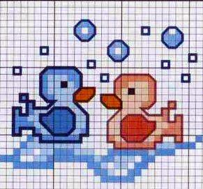 paperelle nell'acqua - punto croce - cross Stitch - Kreuzstich - Punto de Cruz