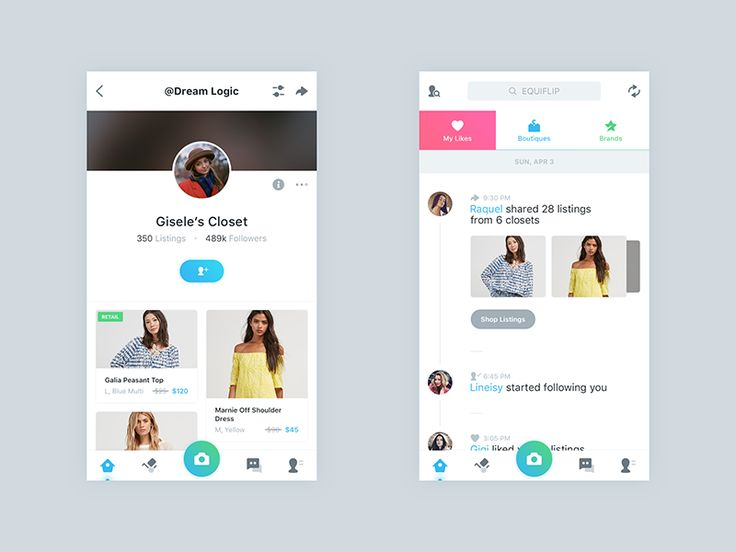 Closet And Newsfeed by Mani - Dribbble