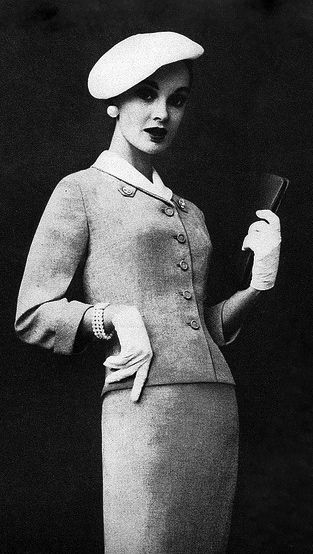 Leslie Fay women's fashion, suit, hat, 1957