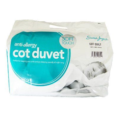 Sarah Jayne Anti Allergy Cot Bed Duvet 9.0 TOG Cot Bed Quilt No description (Barcode EAN = 5053450014900). http://www.comparestoreprices.co.uk/december-2016-3/sarah-jayne-anti-allergy-cot-bed-duvet-9-0-tog-cot-bed-quilt.asp