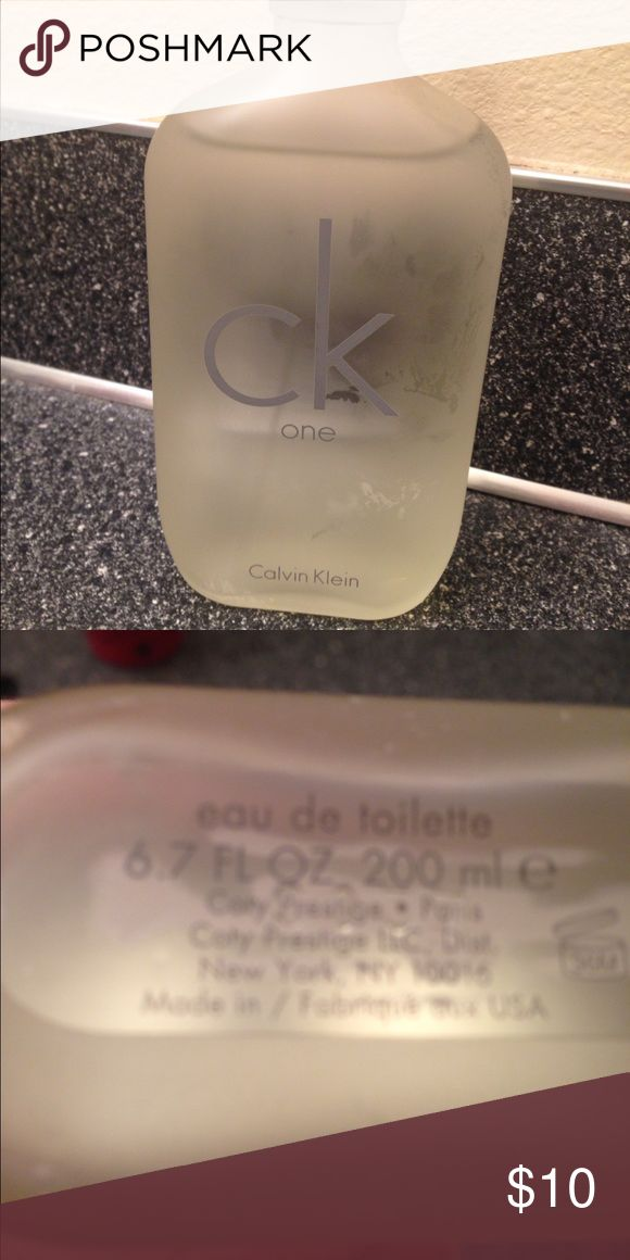 CK perfume. Big bottle 6.7oz Tester Sample bottle. Used maybe three times. Big bottle. ck Other