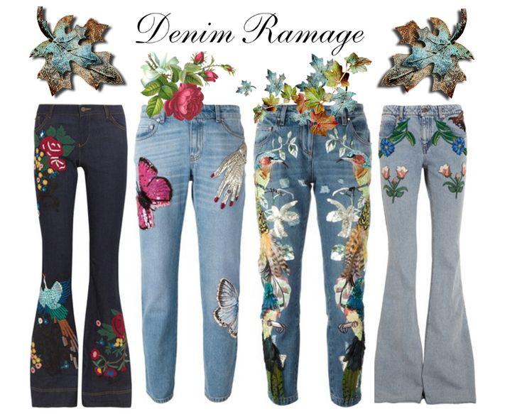 denim ramage, denim ricamato, jeans ricamati