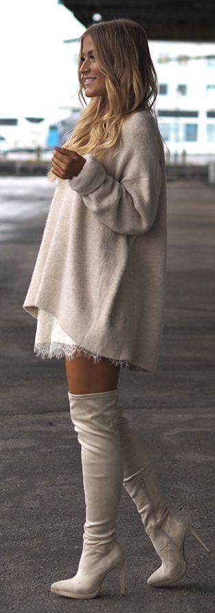 Street style | Neutral sweater dress over lace dress and over the knee boots