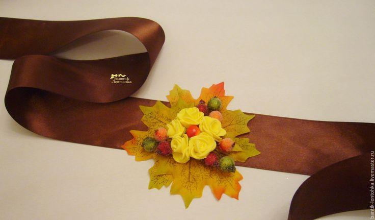 """Купить Атласный пояс """"Краски осени"""" - разноцветный, пояс, пояс с цветами, пояс с цветком"""