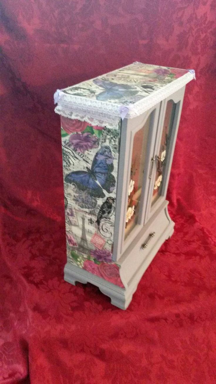 Excited to share the latest addition to my #etsy shop: Large Jewellery box.Girls jewelry box.Paris Box.lace,tall jewelry cabinet.decoupage,french,purple butterfly,shabby chic,armoire,mixed media http://etsy.me/2opxQ3x