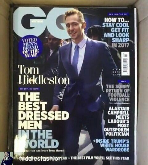 """""""Tom Hiddleston is featured on the cover of @BritishGQ's February 2017 Best Dressed Men In The World Issue"""" https://twitter.com/HiddlesFashion/status/816258768849735680"""
