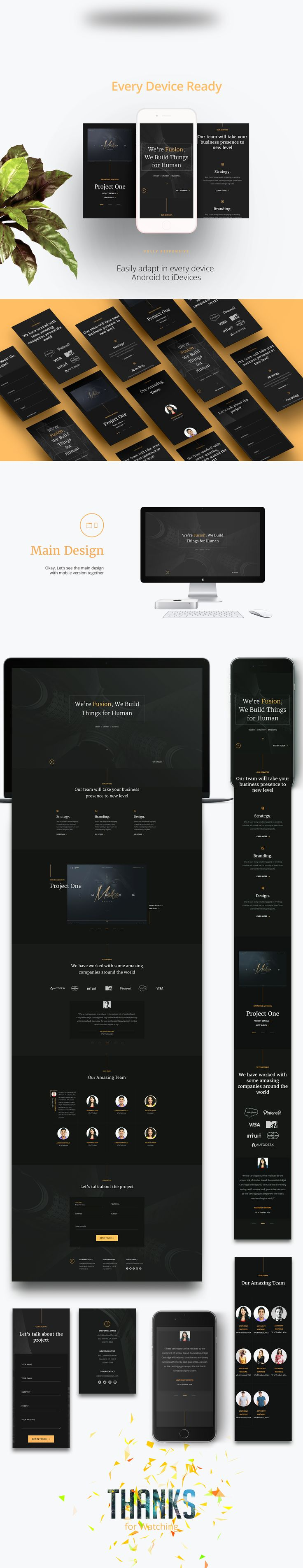 Fusion is a free portfolio template for personal portfolio website or agency website built with HTML5 and CSS3. Showcase your personal or agency projects and services beautifully with this template.Fusion is bootstrap portfolio template. Here is the mai…