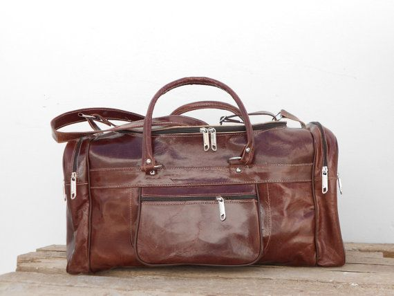 Dark Brown Leather Duffel Kit Gym Luggage Bag, Mens Sports Ditty Utility Travel Weekend Bag