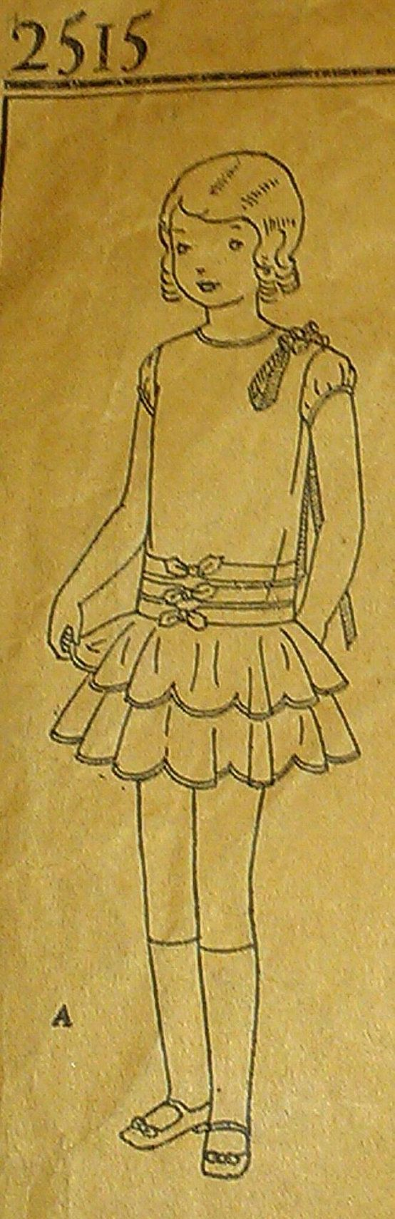 Vintage 1930s Girl's Slip Over Flounce Tiered Drop Waist Bow Trimmed Cummerbund Effect Frock Dress Sewing Pattern 2515 Size 7
