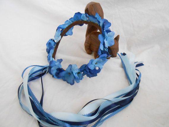 Blue Hydrangea Floral Crown Beach Wedding Circlet Pearl Flower Crown Bridal Headpiece Hair Wreath Bridesmaid Flowergirl Garland Headband on Etsy, $33.95