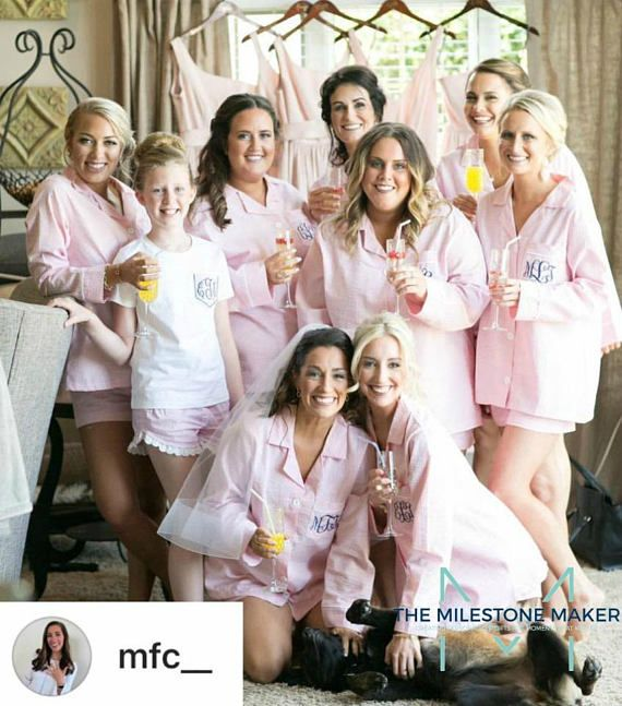 Bride and Bridesmaid Pajama Short Set, Monogrammed Seersucker Boxer Short Set of 4,5,6,7,8,9,10,11,12, Bridesmaid Gift, Getting Ready Shirt Your Bridesmaids will LOVE this classic Seersucker for getting ready on your wedding day! Classic, comfortable and chic….our seersucker shorts