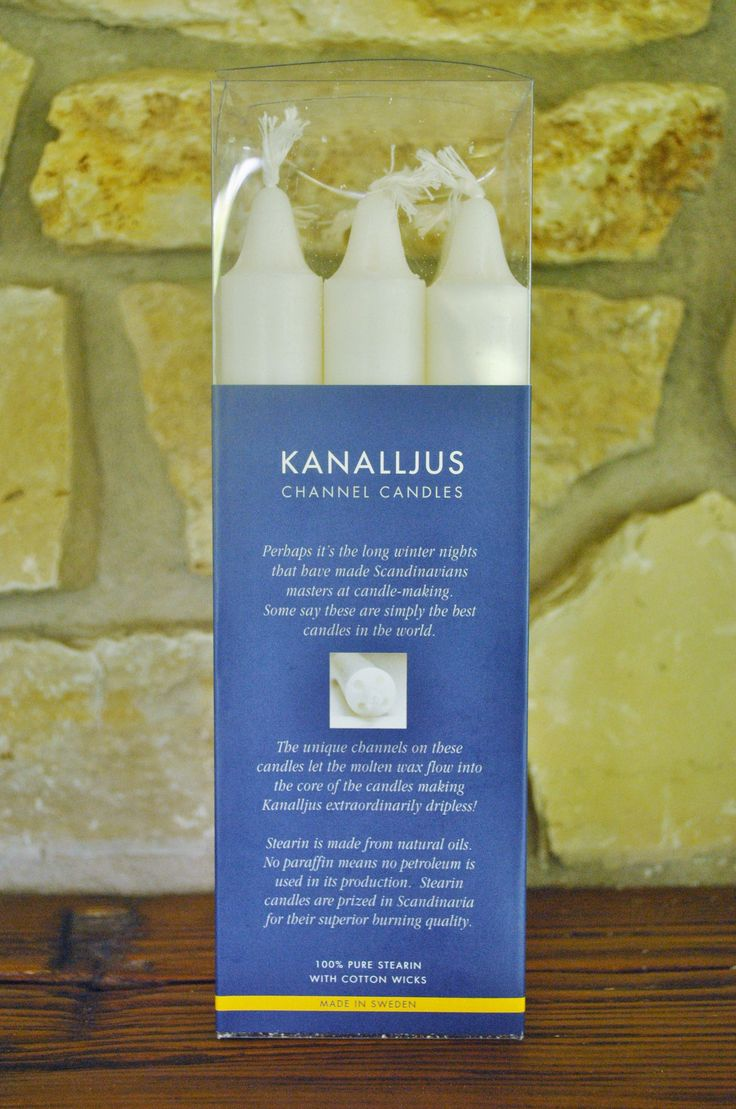 The unique channels on these candles let the molten wax flow into the core of the candles making Kanalljus extraordinarily dripless. Stearin is made from natural oils. No paraffin means no petroleum i