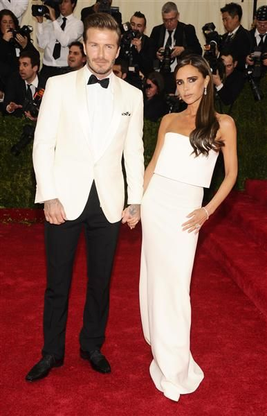 """Posh & Becks @ The Met Gala in NYC on May 5, 2014. Becks may wear """"whatever my wife lays out on the bed"""" however, they always look polished & refined. LOVE them! 5 stars. :D"""