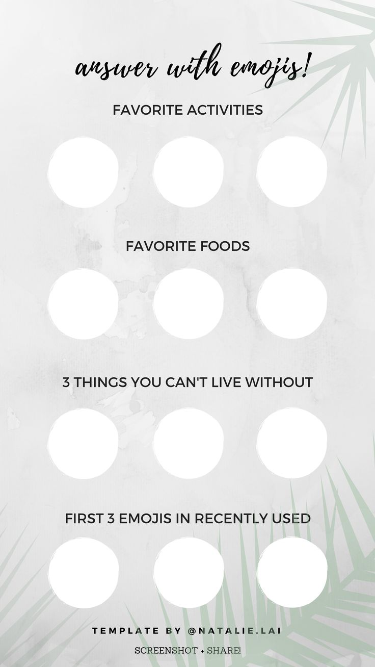 Instagram story template - answer with emojis - get to know me!
