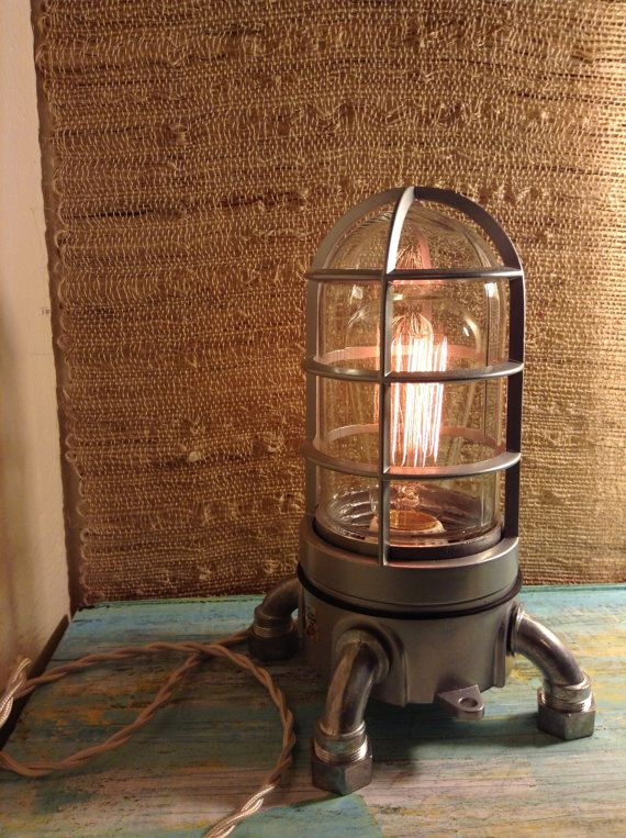 Touch dimmer Industrial lamp. Very solid Vapor tight   Edison Lamp, Nautical steampunk loft lamp
