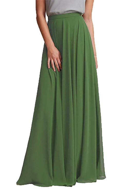 2898b15d7e Honey Qiao Chiffon Maxi Skirt Bridesmaid Dresses Long High Waist  Floor/Ankle Length Elastic Woman Dresses with Belt at Amazon Women's  Clothing store: