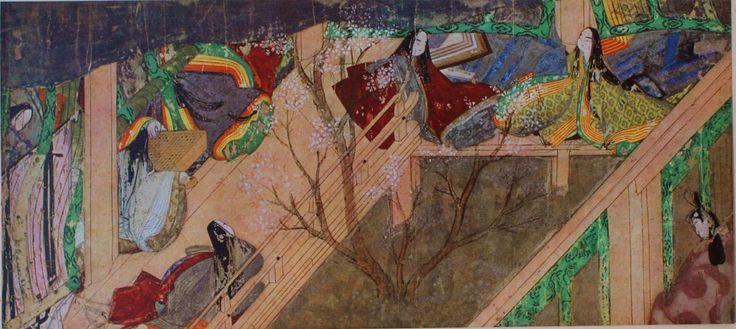 """96. Rotolo del """"Romanzo del Principe Splendente"""" (Genji monogatari emaki), inizio del XII secolo. Inchiostro e colori su carta, particolare (h. cm. 21,8). TOkugawa Museum."""
