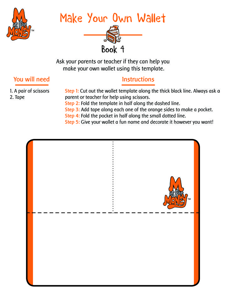 Make Your Own Wallet!  Visit www.MisforMoney.ca to buy our books and for more free downloads and fun money stuff. #misformoney