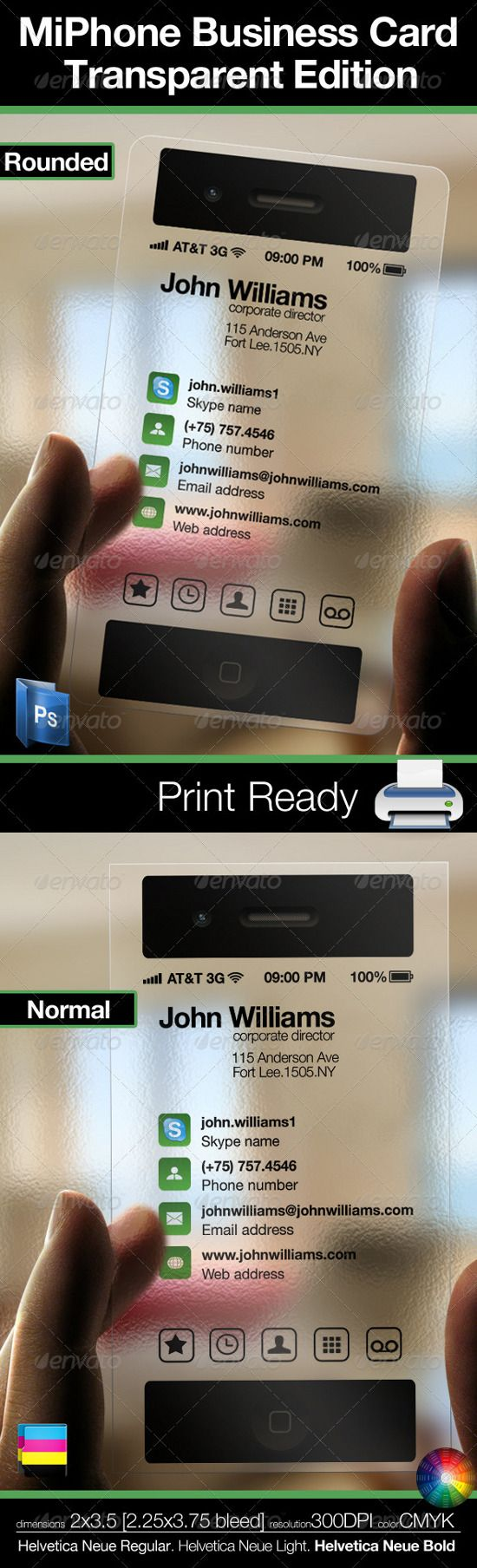 Mobile (Cell Phone) business card, transparent