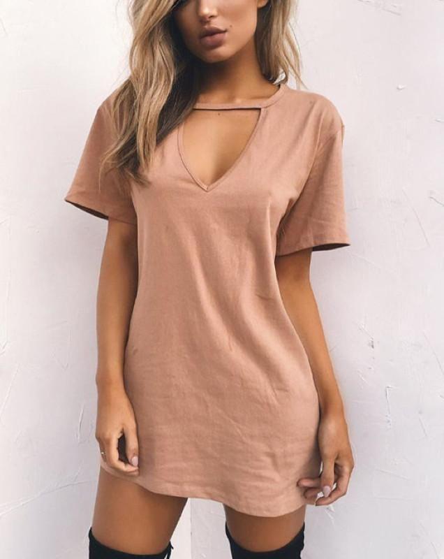 09ae1c873e0 Short Sleeve Choker V-Neck T-Shirt Style Mini Dress. (11 Colors Available)