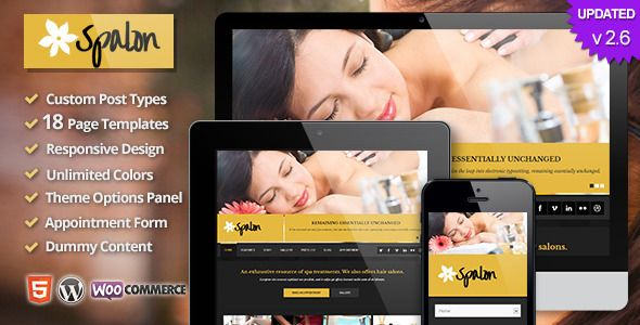 Spalon - Responsive WordPress Theme   http://themeforest.net/item/spalon-responsive-wordpress-theme/4498738?ref=damiamio          Spalon Responsive WordPress Theme | WordPress 3.9 Ready  If you are looking for the perfect WordPress theme for your spa, beauty or massage salon or wellness business, then this theme is for you. Spalon is a small business responsive WordPress theme created for spas, salons, yoga classes and beauty treatment businesses. This theme includes all the necessary pieces…