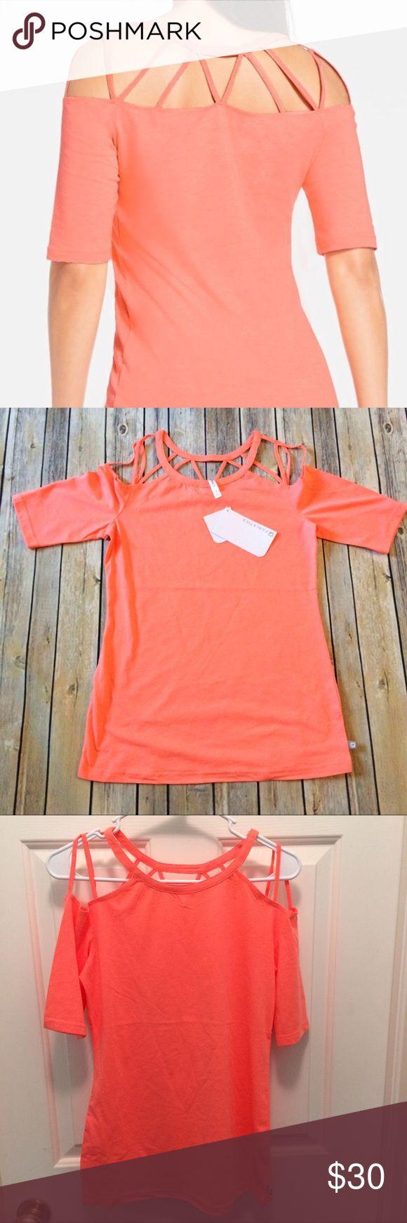 Fabletics top Brand New! Bright coral orange  strappy top. Fabletics Tops