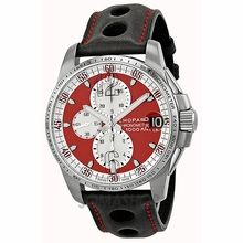 Chopard Mille Miglia Gran Turismo Red Dial Chronograph Automatic Black Leather Mens Watch 168459-3036