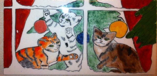 MADE BY Benian arsiray @benianarsiray ceramic tile çini gravure gravür cats new year