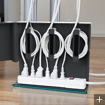 Plug Hub Under-desk Cord Management Station by Quirky -- there has got to be a way to make something like this.